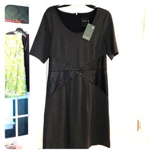 NWT Little black gray dress with leather size M